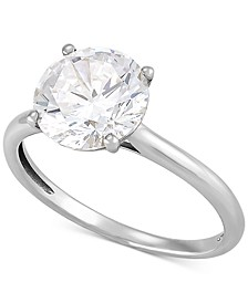 Arabella Swarovski Zirconia Solitaire Ring in 14k White Gold