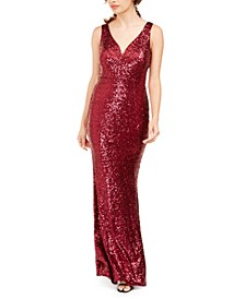 Juniors' Solid Sequin Gown