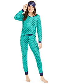 Knit Pajamas & Sleep Mask 3pc Set, Created For Macy's