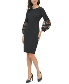 Calvin Klein Lace-Sleeve Dress