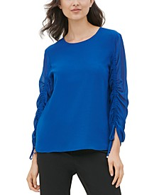 Scoop-Neck Drawstring-Sleeve Top