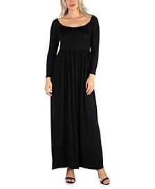 Women's Long Sleeve Pleated Maxi Dress