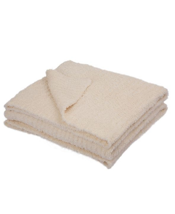 Glitzhome Knitted Feather Yarn Throw Blanket