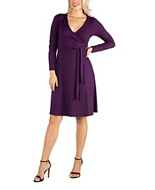 Women's Knee Length Long Sleeve Wrap Dress