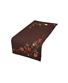 """Autumn Branches Embroidered Fall Table Runner, 16"""" x 36"""""""