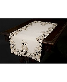 """Delicate Daisy Embroidered Cutwork Table Runner, 15"""" x 34"""""""