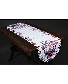 "Star Spangled Embroidered Cutwork Table Runner, 15"" x 53"""