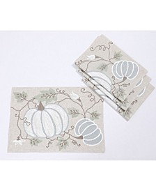Harvest Pumpkins and Vines Crewel Embroidered Fall Placemats, Set of 4