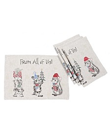 """Animal's Fun Holiday Party Embroidered Placemats 14"""" x 20"""", Set of 4"""