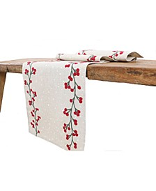 Holly Berry Branch Crewel Embroidered Christmas Table Runner