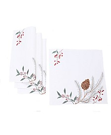 Pinecone and Berry Embroidered Christmas Placemats, Set of 4