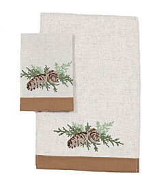 "Winter Pine Cones and Branches Crewel Embroidered Decorative Towels 14"" x 22"", Set of 2"