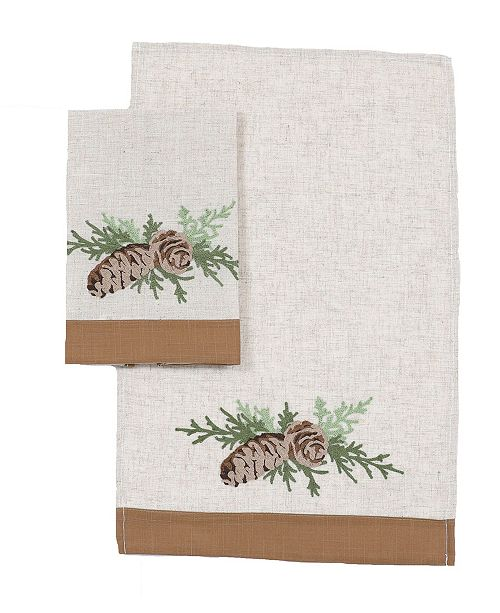 """Manor Luxe Winter Pine Cones and Branches Crewel Embroidered Decorative Towels 14"""" x 22"""", Set of 2"""