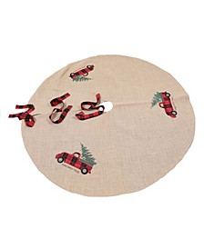 "Vintage Tartan Truck with Christmas Tree Skirt 56"" Round"