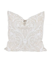 "Jacquard Crewel Embroidered Pillow, 20"" x 20"" with Feather Insert"