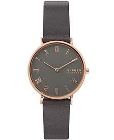 Women's Hald Gray Leather Strap Watch 34mm