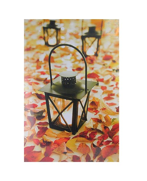 """Northlight LED Lighted Fall Foliage and Lanterns Canvas Wall Art, 23.5"""" x 15.75"""""""