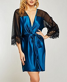 Elegant Ultra Soft Sain Lace Robe with Mesh Panels