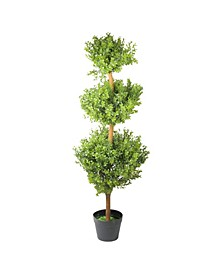 Potted Two-Tone Murraya Artificial Triple Ball Topiary Christmas Tree - Unlit