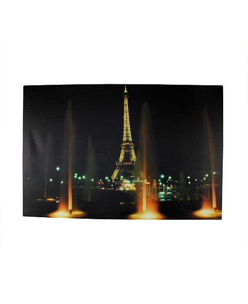 """Northlight LED Lighted Eiffel Tower with Fountains Canvas Wall Art, 15.75"""" x 23.5"""""""