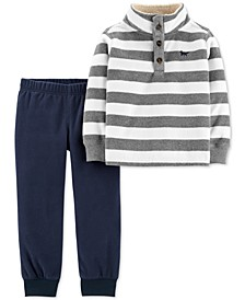 Toddler Boys 2-Pc. Striped Fleece Top & Jogger Pants Set
