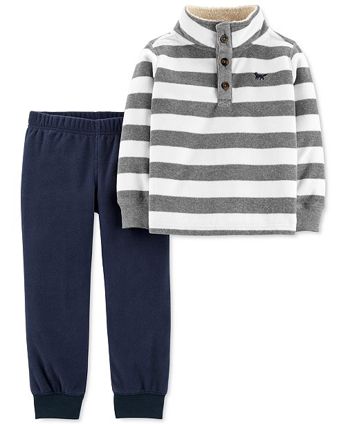 Carter's Toddler Boys 2-Pc. Striped Fleece Top & Jogger Pants Set