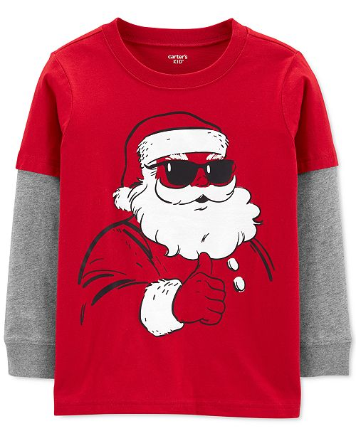 Carter's Little & Big Boys Santa-Print Layered-Look Cotton T-Shirt