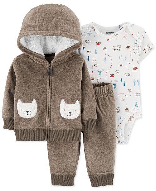 Carter's Baby Boys 3-Pc. Fleece Bear Hoodie, Printed Bodysuit & Pants Set