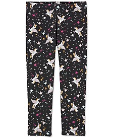 Baby Girls Pegasus-Print Fleece Leggings