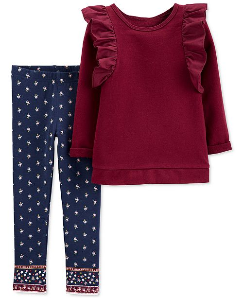 Carter's Toddler Girls 2-Pc. Ruffled Top & Printed Leggings Set