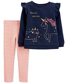 Toddler Girls 2-Pc. Ruffled Unicorn Top & Striped Leggings Set