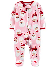 Baby Girls Santa-Print Fleece Footed Coverall