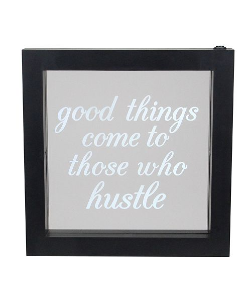 """Northlight LED Lighted Good Things Come to Those Who Hustle Silkscreen Framed Light Box, 9"""" x 9"""""""