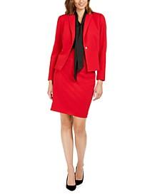 Single-Button Blazer, Bow-Neck Blouse & Pencil Skirt