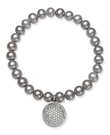 Gray Cultured Freshwater Pearl (7-8 mm) and Cubic Zirconia Stretch Bracelet with Charm in Sterling Silver