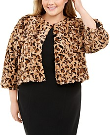 Plus Size Printed Faux-Fur Shrug