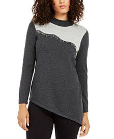 Alfani Asymmetrical Beaded Sweater, Created For Macy's