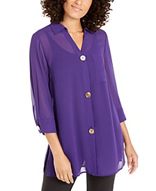 Petite Semi-Sheer 3/4-Sleeve Blouse, Created For Macy's