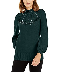 Embellished Mock-Neck Sweater, Created For Macy's