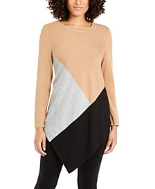 Petite Colorblocked Asymmetrical Tunic, Created For Macy's