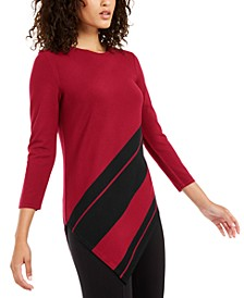 Petite Striped Asymmetrical Tunic, Created For Macy's