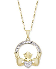 "Diamond Claddagh 18"" Pendant Necklace (1/10 ct. t.w.) in 14k Gold-Plated Sterling Silver"