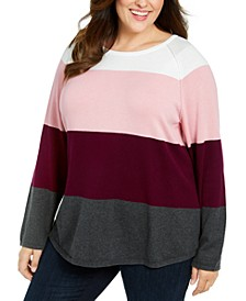 Plus Size Cotton Colorblocked Sweater, Created For Macy's