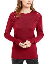 Michael Michael Kors Lace-Up Crewneck Sweater
