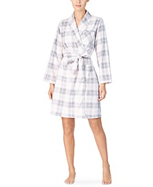 Printed Fleece Short Wrap Robe