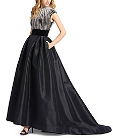 Embellished Mock-Neck Gown