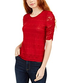 Juniors' Tie-Back Lace Blouse, Created For Macy's