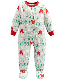Toddler Boys 1-Pc. Fleece Mickey Mouse Footie Pajamas