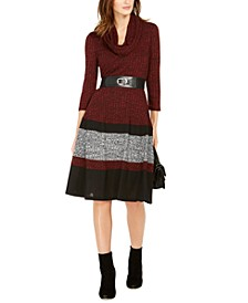 Petite Colorblocked Sweater Dress with Scarf