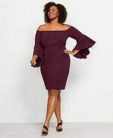 Plus Size Off-The-Shoulder Crepe Dress